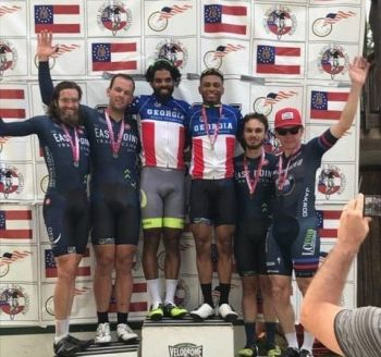 Virgin Islander Darel Christopher Jr, was crowned the Velodrome 2018 sprint champion. He also shared first place accolades with Frank Travieso, of Cuba, taking the 2018 Madison title. Photo: Team of Reporters