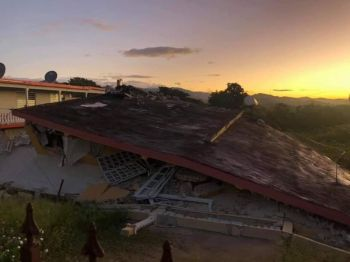 A home flattened by the seismic activity in Puerto Rico on Tuesday. Photo: Facebook
