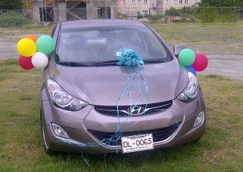 The Hyundai Elantra given to Ms Sharie B. Y. deCastro by the Virgin Islands Festival and Fairs Committee for winning the Miss BVI Pageant in August 2012. It is alleged that a car will not be among the prizes this year, which has left some persons close to the contestants fuming. Photo: VINO/File