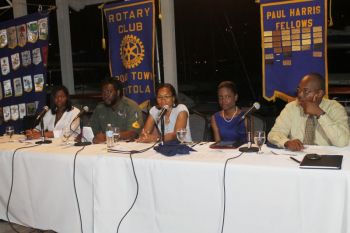 L-R: Jude Hanley, Paul 'Gadiethz' Peart, Ms Shari B.Y. de Castro and Dr Karl Dawson were guest speakers at a special youth forum hosted by the Rotary Club of Road Town in observance of Youth Service Month on September 25, 2013. Ms Shaina M. Smith was the moderator. The activity was held at The Moorings. Photo: VINO