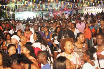 A large crowd at the Patsy C. Lake Festiville on August 1, 2015 where international artistes VIBE and the A-Team band of Trinidad performed, along with Busy Signal of Jamaica. Photo: VINO