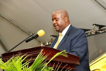 Premier of the Virgin Islands, Honourable Andrew A. Fahie (R1) speaking at the People's Action Movement's (PAM) 54th Anniversary Convention on Sunday, April 28, 2019, in Basseterre, St Kitts & Nevis. Hon Fahie was the Keynote Speaker at the invitation of Party Leader and Deputy Prime Minister, The Honourable Shawn K. Richards. Photo: The St Kitts-Nevis Times