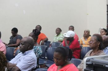 A section of the audience at the NDP on the Road community meeting in Sea Cows Bay on April 29, 2013. Photo: VINO