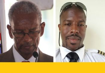 Premier Dr The Hon D. Orlando Smith (AL), left, has emerged as the chief lobbyist for BVI Airways, while strongly criticising locally owned VI Airlink for filing an objection to the application of BVI Airways. Right: Captain Neville C. Braithwaite Jr of VI Airlink. Photo: VINO/Facebook