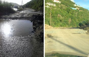 A before and after photo of the road close to the West End Ferry Dock on Tortola. Photo: VINO