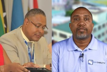 General Manager of the BVI Electricity Corporation (BVIEC) Mr Leroy A. E. Abraham, left, and CEO of BVI Cable TV Mr Romney Averad Penn are expected to be part of the meeting on Monday, October 7, 2019. Photo: VINO/Facebook