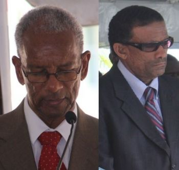 It is unclear if the Acting Premier Dr The Honourable Kedrick D. Pickering (R7), right, will answer the questions asked of the Premier Dr The Hon D. Orlando Smith, left. Photo: VINO/File
