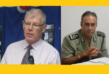 Acting Commissioner of Police David Morris (right) firmly believes the policy of promotion, discipline and transfer of officers within the Royal Virgin Islands Police Force (RVIPF) should rest with the Office of the Police Commissioner, as the recent controversial 'delegation of powers' by Governor Boyd McCleary (left) has facilitated.