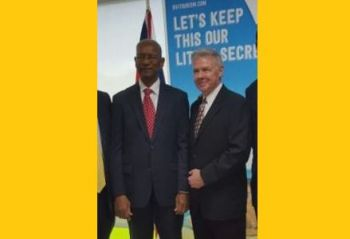 From left: Premier Dr The Hon D. Orlando Smith (AL) and CEO of BVI Airways Jerry D. Willoughby. Photo: VINO/File