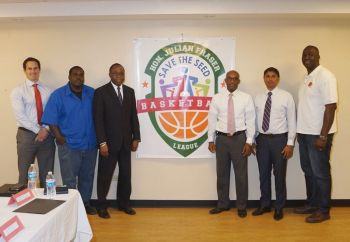 The 3rd Annual Hon Julian Fraser Save the Seed National Basketball League was launched on July 28, 2015. From left: Head of Business Solutions at Digicel BVI, Mr Kevin Carragher; League Commissioner, Rajah A. Smith; Representative for the Third District, Hon Julian Fraser RA; Pastor Albert O. Wheatley; Managing Director of Nagico Insurances, Shan Mohamed; and Vice-President of the BVI Basketball Federation, Keith '88' Malone. Photo: Stephen A. McMaster