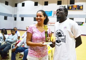 Mr Shamoii A. Dagou, right, was named MVP of the inaugural Hon. Julian Fraser/Save the Seed National Intermediate Basketball League and twice winner of the championship and was regarded as a role model for young persons. Photo: VINO/File