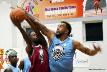 Veteran basketball player Steve E. Parillon, right, a member of Mystics, was upset over the cancellation of the game and believes the league should be discontinued if the BVI Basketball Federation is unable to properly run the league. Photo: VINO/File