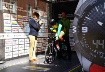 Darel Christopher Jr. at the Union Cyclist International (UCI) World Road Racing Championships in Austria. Photo: Team of Reporters