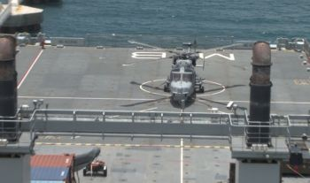 The helicopter used in the aerial operation conducted in the Virgin Islands by RFA Mounts Bay officers in July 2017. Photo: VINO/File