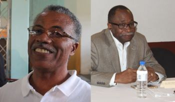 Former Opposition Leader Hon Julian Fraser RA (R3), right, had criticised Ninth District Representative Dr The Hon Hubert O'Neal (left) of being sidelined by his own National Democratic Party Government, something which Hon O'Neal did not take kindly to. Photo: VINO/File