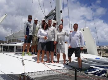 A new outright record was set in the Nanny Cay Challenge by Fujin, Greg Slyngstad and his crew on the Bieker 53 catamaran after completing the Round Tortola Race in an elapsed time of 1h 57mins 16mins. Photo: BVISR/Michelle Slade