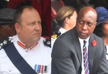 From left: Superintendent of Prisons David Foot (left) and Minister for Education and Culture Hon Myron V. Walwyn. Major portions of the Prison Service portfolio are under the controversial Minister Walwyn. Photo: VINO/File