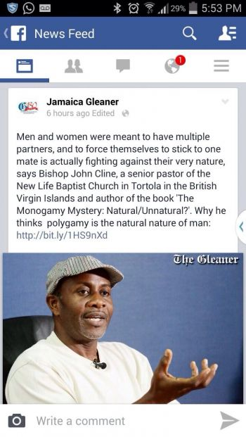This controversial post on Facebook by Jamaica Gleaner recently saw Mr Cline come under heavy criticism from members of the public. Photo: VINO/File