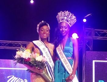 Miss BVI Erika R. Creque (left) with 2015/16 Queen, Adorya R. Baly back in July 2016. Photo: VINO/File