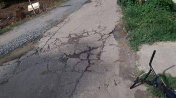 The poor condition of the road in front of the residence of Brae'den E. Edwards on Jost Van Dyke. Photo: Provided/File