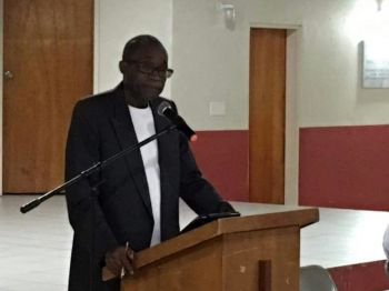 Opposition Leader Hon Julian Fraser RA (R3) addressing residents of Virgin Gorda at the Catholic Community Centre on November 2, 2016. Photo: Provided