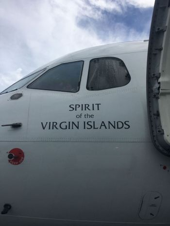 The first BVI Airways aircraft that landed at Beef Island in early November. Photo: Team of Reporters