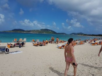 Tourists on Long Bay Beach, Beef Island on December 26, 2017. Photo: VINO/File