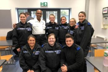 Superintendent Jacqueline E. Vanterpool (in white) poses with female recruits following her presentation to over 70 of the constabulary's newest officers. Photo: RVIPF