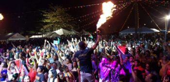 A large crowd gathered at the Carrot Bay Festiville for the stage show featuring Trinidadian Soca artiste, Machel Montano on August 9, 2019. Photo: VINO