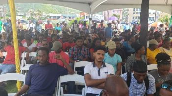 Some of the persons at the launch of the 1000 Jobs in 1000 Days employment initiative at Central Administration Complex on Wickham's Cay 1, Tortola on August 21, 2019. Photo: VINO/File
