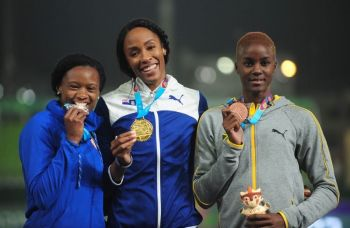 Long Jumper Chantel Ellen Malone, centre, buried the field on her first attempt, to win the Virgin Islands (VI) first Pan Am Games medal in its 36-year history, on the opening day of track and field in Estadio Nacional, in Lima, Peru on August 6, 2019. Photo: Todd VanSickle