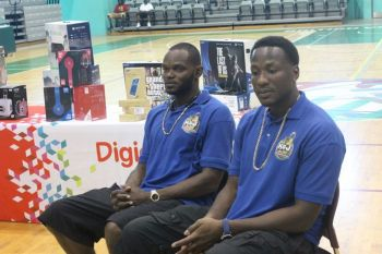 The pioneers of the K&J 3 on 3 Basketball Tournament - Kennedy H. Bass and Jason A. Edwin. Photo: VINO/File