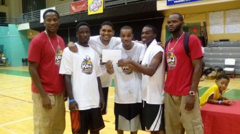 Flashback: Inaugural K&J 3 on 3 winners Kings are flanked by the tournament organisers and national basketball players. From left: Jason A. Edwin, Karvin Robin, Juan Richard, Sean Woods, Rowan Victor and Kennedy H. Bass. Photo: VINO/File