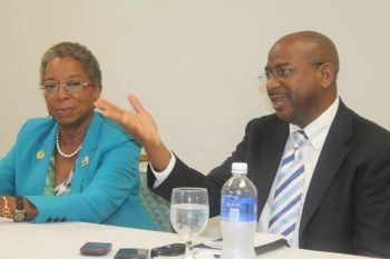 Democratic Candidate for Governor of the USVI Donna M. Christensen and running mate Basil C. Ottley during a visit to Territory in October 2014. Photo: VINO/File