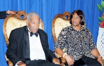 The late Hon Ralph T. O'Neal, OBE and Reverend Edris O'Neal, OBE, at a Gala Dinner in his honour on November 14, 2015. Photo: VINO