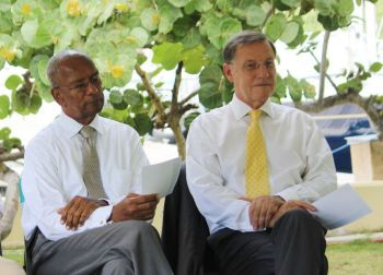 Governor John S. Duncan OBE (right), like the public, seems to have run out of patience with the years of broken promises of a Freedom of Information Act by the National Democratic Party (NDP) Government led by Premier Dr The Hon D. Orlando Smith (left). Photo: VINO/File