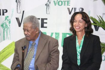 Ms JoAnn 'Roxie' Romney with Leader of the Opposition and Immediate Past Chairman of the Virgin Islands Party Hon Ralph T. O'Neal OBE at a recent campaign rally. Photo: VINO/File