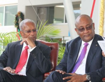 Premier Dr The Hon D. Orlando Smith (AL), left, had forced the Minister for Health and Social Development Hon Ronnie W. Skelton (AL), right, to ask for Mr John I. Cline's resignation as BVIHSA Chairman. Photo: VINO/File