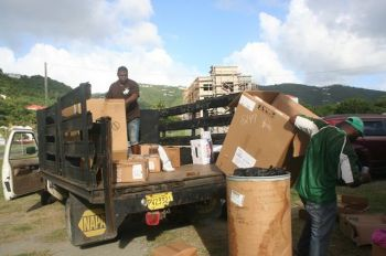 Many volunteers and donors in the Virgin Islands had turned out on January 1, 2014 to give assistance to the disaster relief drive for St. Vincent and the Grenadines. Photo: VINO/File