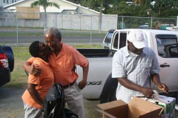 Premier and Minister of Finance Dr the Honourable D. Orlando Smith was among the many persons who were out in full support of the SVG/VI flood relief venture recently. Photo: VINO/file
