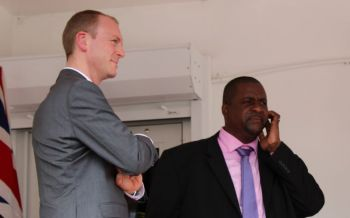 In was in August 2019 that Premier and Minister of Finance Hon Andrew A. Fahie (R1), right, had publicly expressed his displeasure with Governor Augustus J. U. Jaspert, left, rejecting the recommendations of the Public Service Commission (PSC) regarding the appointments of Permanent Secretaries and making the appointments on his own. Photo: VINO/File