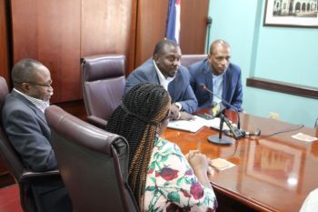 Opposition Leader, Hon Mark H. Vanterpool (R4), right, at a press conference called by the Opposition on November 13, 2019, said he remains please with the work of the TPP. Photo: VINO/File