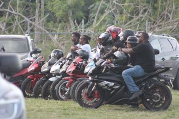 Bikers at the Capoon's Bay Recreation Ground on January 21, 2018 when then Opposition Leader and Chairman of the Virgin Islands Party (VIP) Hon Andrew A. Fahie (R1) gave his Annual First District Report. Photo: VINO
