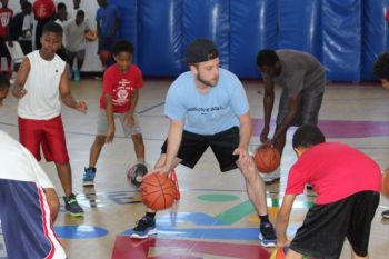 Mr Rich A. Mahler teaching the fundamentals of the game at a basketball camp at Save the Seed Energy Centre in July, 2015. Photo: VINO