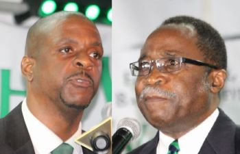 From left: Members of the Virgin Islands Party, Hon Andrew A. Fahie (R1) and Hon Julian Fraser RA (R3). Even with the differences over the Opposition Leader position resolved between the two veteran politicians, political pundits are still doubtful that the public views the party as a viable option at the polls. Photo: VINO/File