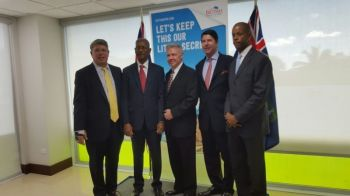 From left are Scott A. Weisman of BVI Airways, then Premier Dr D. Orlando Smith, Jerry D. Willoughby, the airline's President and CEO, Bruce F. Bradley of BVI Airways and then then Financial Secretary Neil M. Smith at the launch of the partnership between BVI Airways and the VI Government on January 12, 2016. Photo: VINO/File
