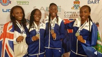 The Virgin Islands team of Akrisa Eristee, Kaelyaah Liburd, Ariya Smith and Jahtivya Williams won silver in the Girls Under 17 400m Relay at the 48th Carifta Games in the Cayman Islands on April 22, 2019. Photo: BVIAA/Facebook