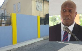 Controversial Minister for Education and Culture Hon Myron V. Walwyn (inset) said that the small wall around the Elmore Stoutt High School cost over a million dollars. He had previously denied that the project had reached a million dollars. Photo: VINO/File