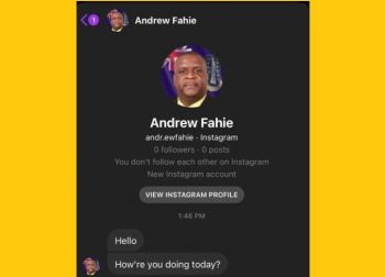Last month the public was warned not to engage with fake accounts purporting to belong to Premier and Minister of Finance, Honourable Andrew A. Fahie (R1). Photo: Facebook