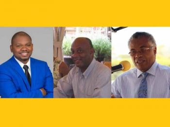 Politicians Jose C. B DeCastro (left) of the new Progressive Virgin Islands Movement's (PVIM), Vincent O. Wheatley (Centre) of the Virgin Islands Party (VIP) and current Ninth District Representative with the National Democratic Party (NDP) Hon Hubert R. O'Neal (Right). Photo: VINO/File/PVIM